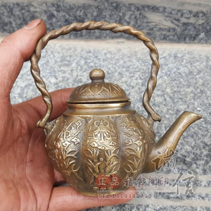 Special price antique pure copper eight treasure pot ornament wine pot teapot auspicious Babao home decoration gift antique collection