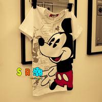 熱賣清倉 香港潮牌 拇指米鼠印花純棉卡通短袖T恤 男女裝韓版