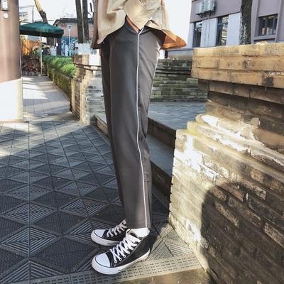 2018春季2色白边裤休闲九分裤 K520/P68