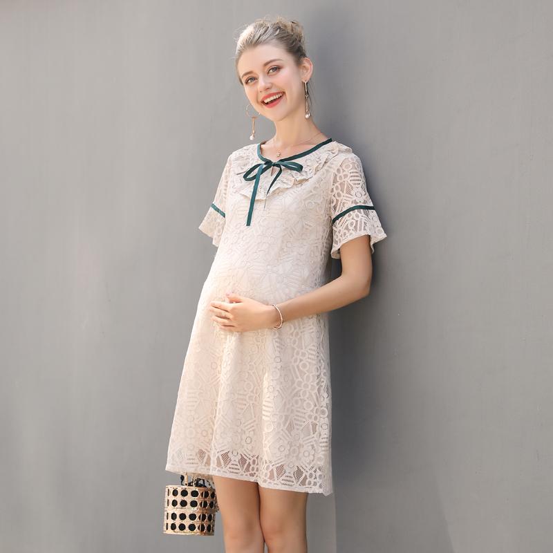 孕妇装夏天蕾丝连衣裙子2020新款时尚潮妈中长款夏装短袖圆领夏季