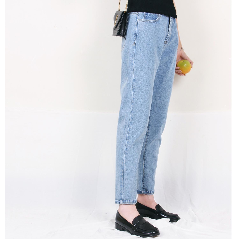 法式纯色中高腰 哈伦裤萝卜裤 锥形牛仔裤