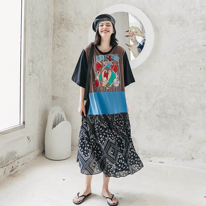 薇语大码女装2020夏季新款韩版宽松短袖T恤花裙拼接印花连衣裙图片