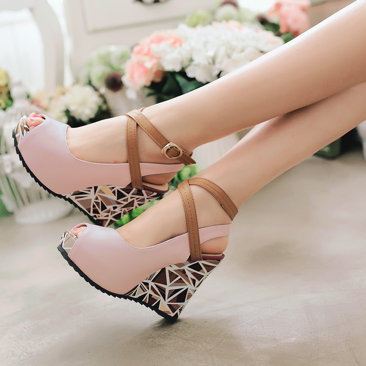 Slope heel fish mouth sandals womens 2020 summer super high heel thick bottom muffin shoes waterproof platform ANKLE STRAP ROMAN SANDALS