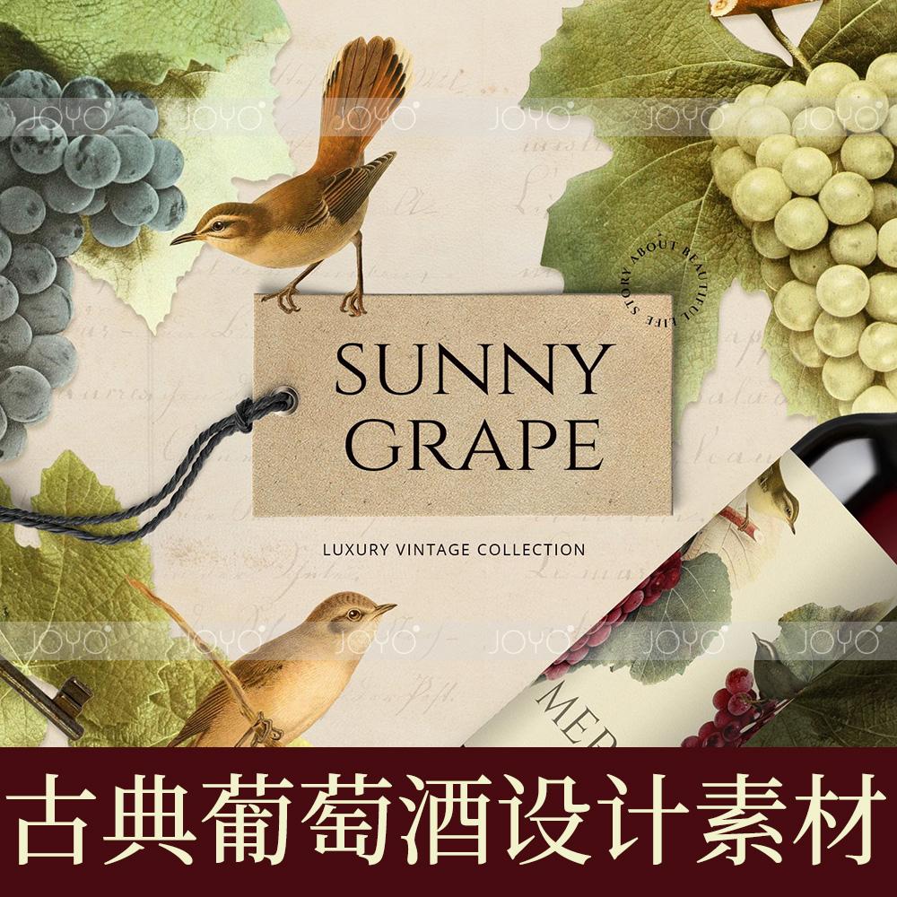 复古鸟类剪贴画PNG素材老式植物葡萄酒包装请柬海报品牌素材