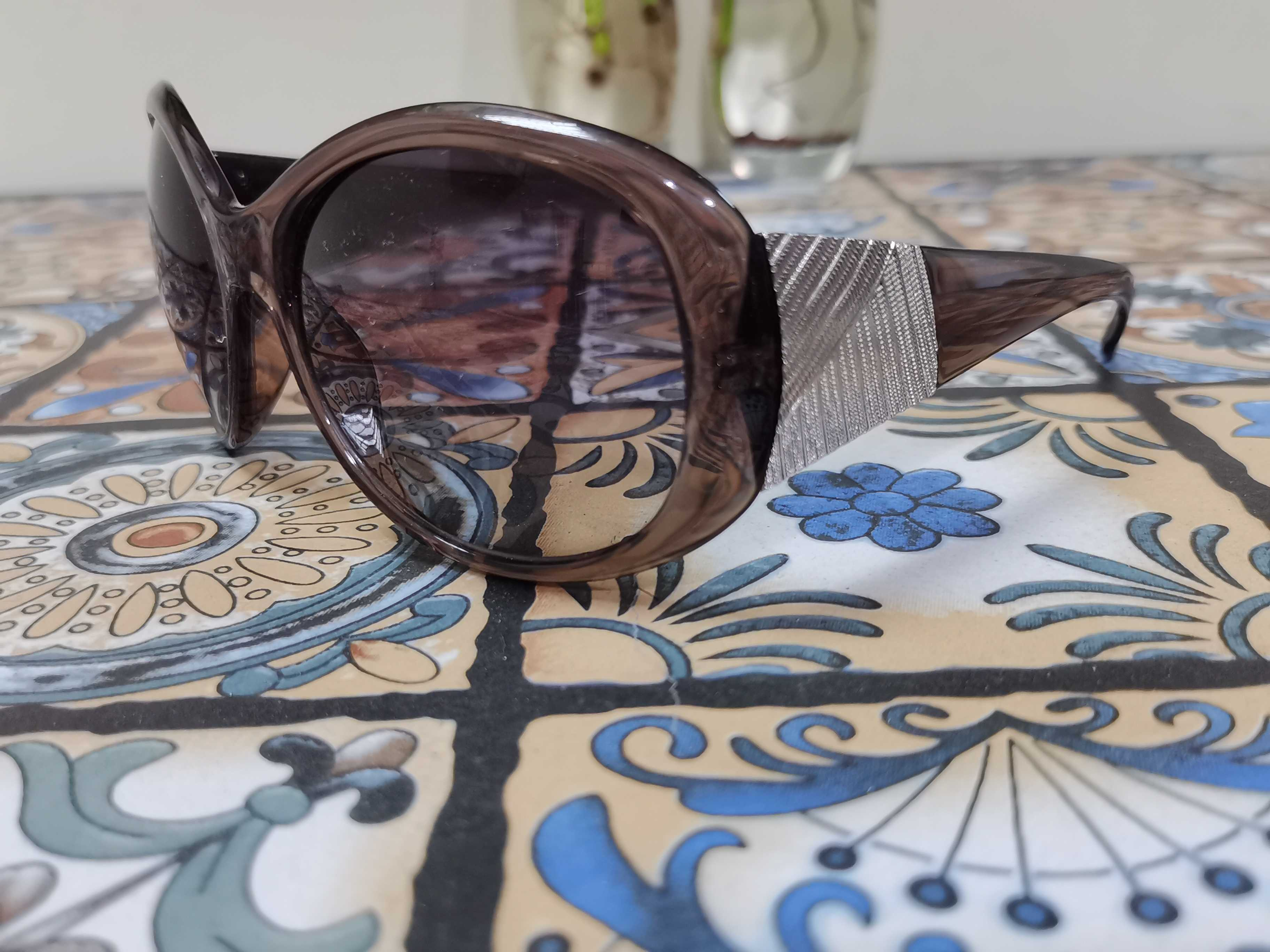 Dark coffee translucent butterfly Frame Brown Lens retro casual sunglasses sunglasses toad glasses