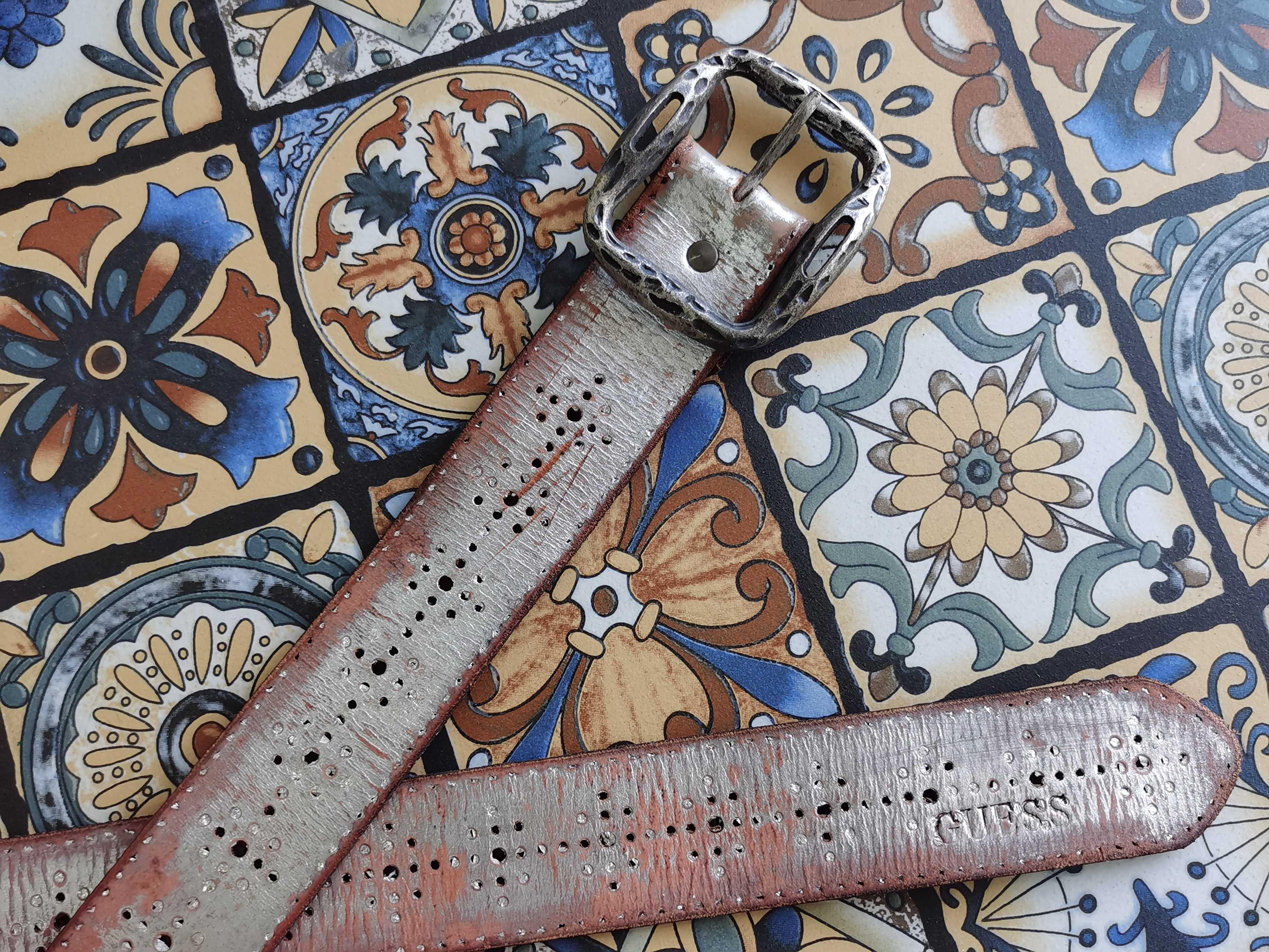 古银镂空雕花针扣做旧漆银色镶钉斑驳纯牛皮复古风休闲皮带腰带