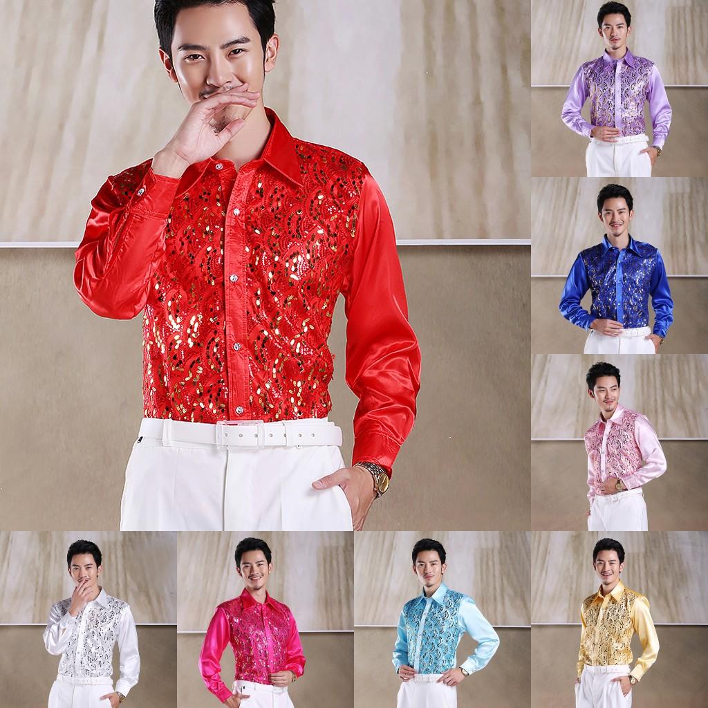 Студия костюма шоу рубашки мужские рубашки, Мужские рубашки блесток KTV бар рубашки