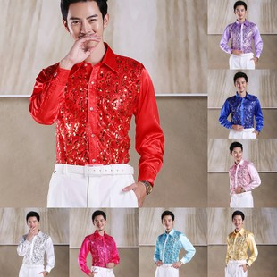 Stage performance clothing studio men s shirts shirt shirt male host sequined shirt ktv bar shirt