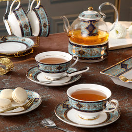 英式下午茶茶具套装高档家用蜡烛加热底座陶瓷欧式水果花茶壶茶杯图片
