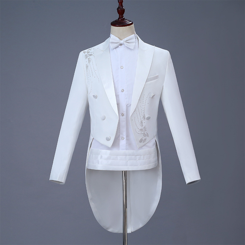 Suit suit new swallow tail White Embroidery Wedding Dress