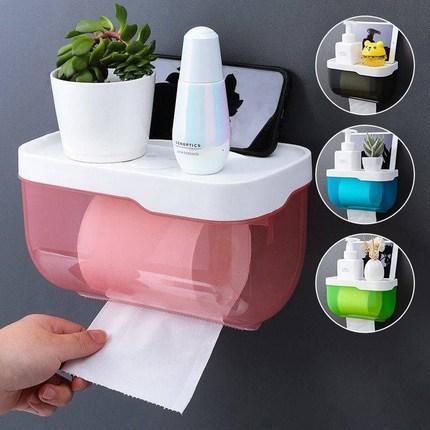 衛生間紙巾盒防水免打孔廁所浴室紙巾架洗手間衛生抽卷紙盒置物架