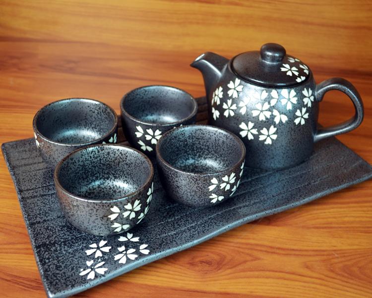热卖和风茶壶整套茶具日式茶盘白色樱花带套装滤网陶瓷陶瓷过滤网