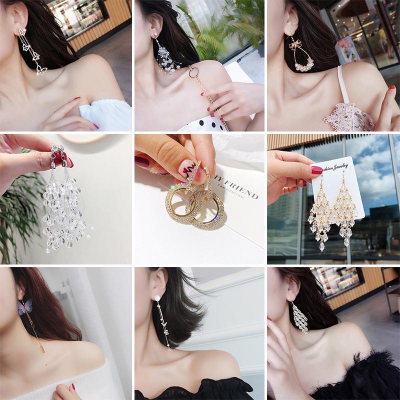 百搭显脸瘦的耳环女韩国个性潮人耳坠简约气质长款大气2018新款潮