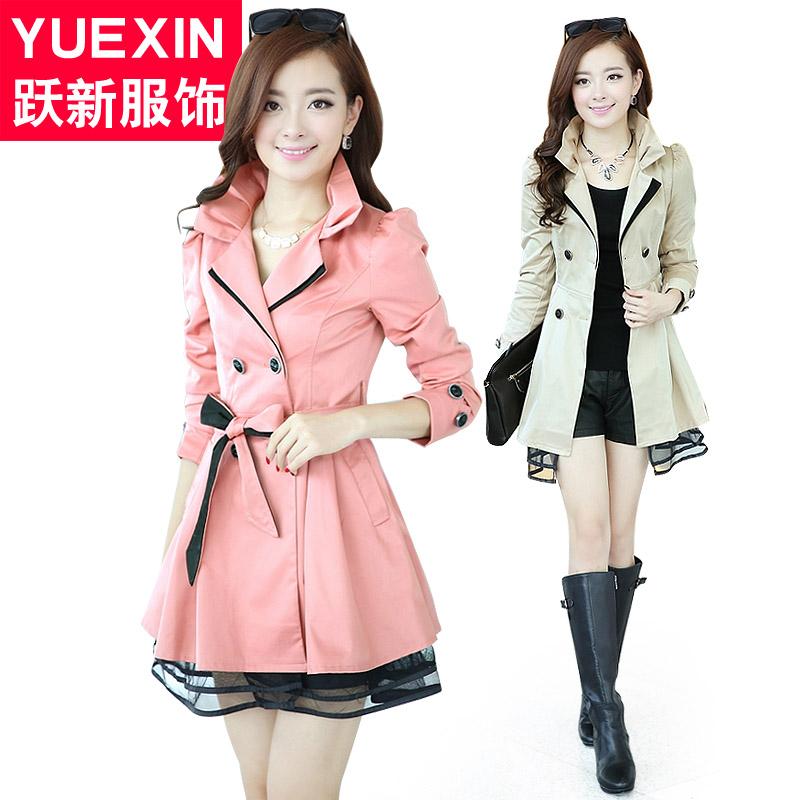 Новая весна ветровка куртка в корейской версии слоеного рукав кружева пальто двойной грудью талии длинные юбки стиль платье