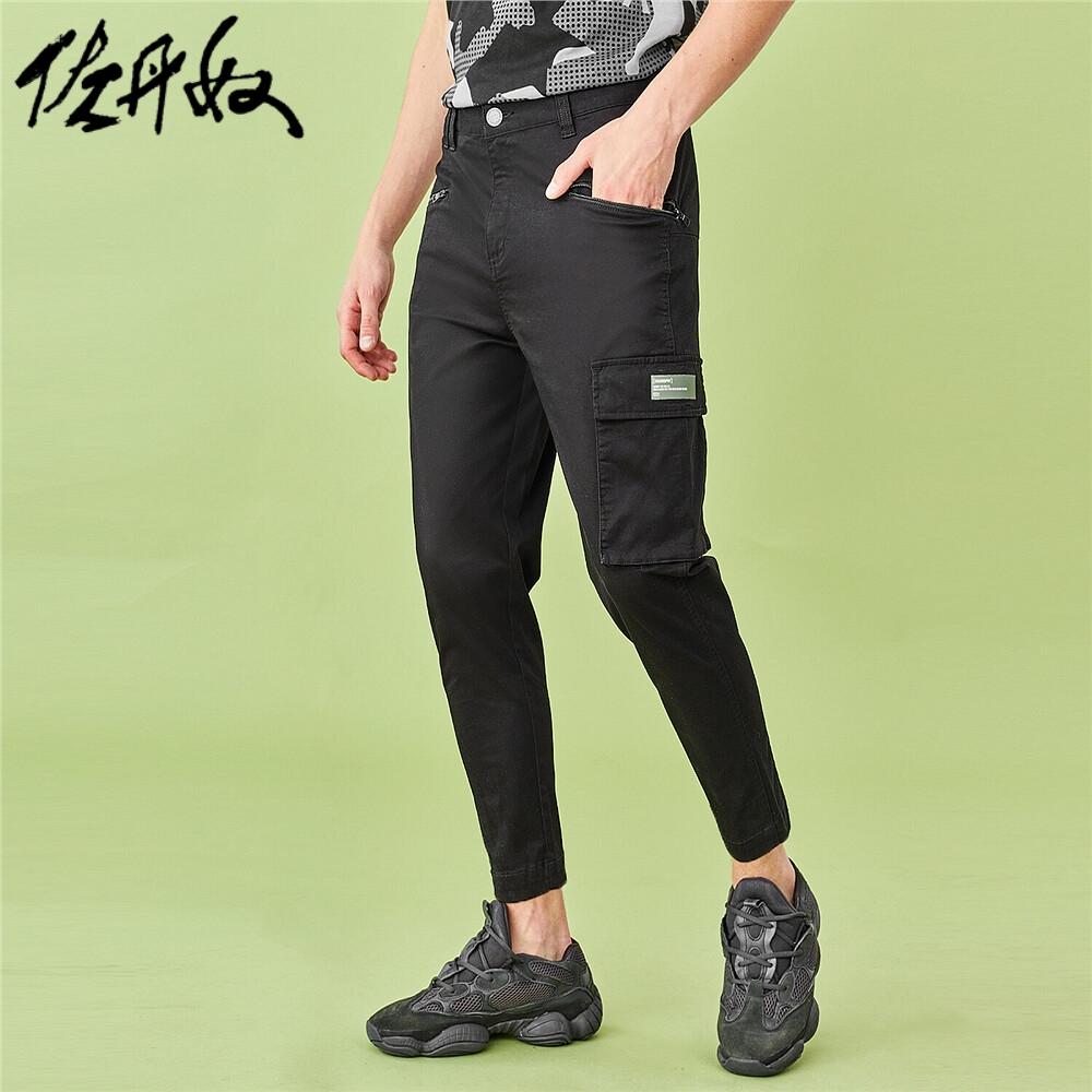 佐丹奴BSX裤子男装特色拉链工装袋长裤04110020