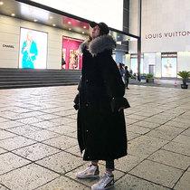 大毛领羽绒棉服女中长款2020冬装新款韩版宽松过膝加厚棉袄外套潮