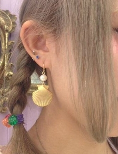 Special exclusive hand made soft sister katie spank amo Harajuku style shell starfish pearl earrings ear clip