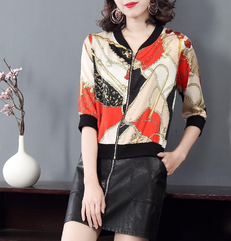 Summer outerwear small shirt thin slim jacket Korean cardigan imitation satin silk printed jacket for women