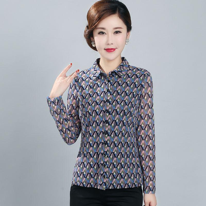 竹语声品牌台湾纱中老年女装秋装上衣妈妈长袖弹力翻领衬衫506070