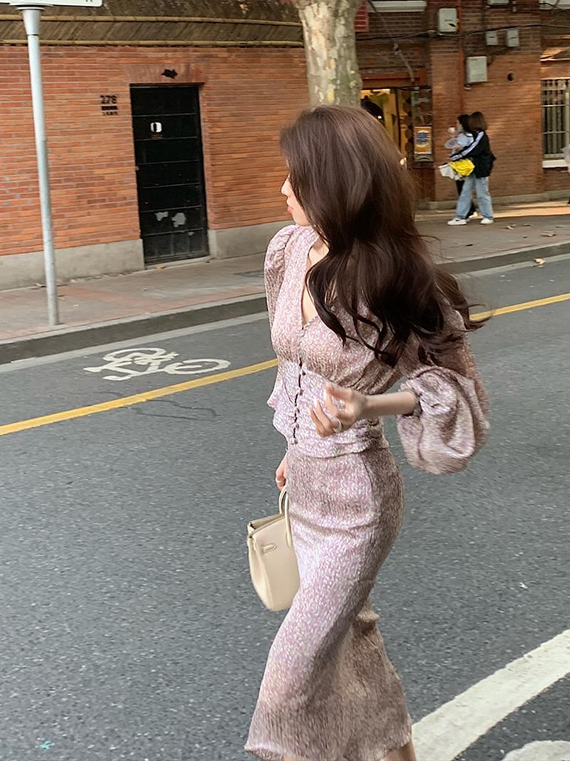 Only niskari womens main series autumn new silk French temperament thin fishtail skirt suit