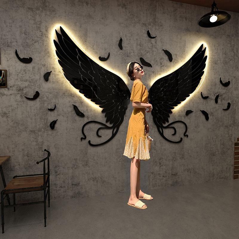 网红打卡翅膀直播背景墙贴酒吧装饰工业风烧烤饭店面创意个性房间
