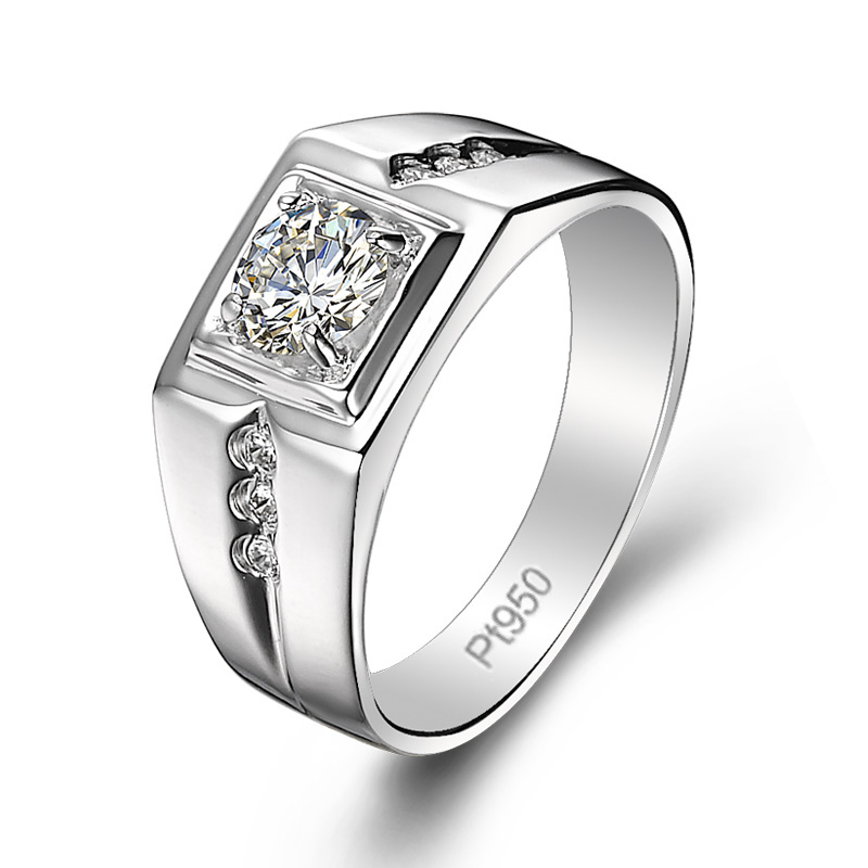 Pt950 imitation diamond wedding ring for mens ring pure silver platinum plated ring can be customized with personalized lettering ring