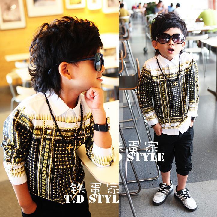 Гонконг, его покупке детей с длинным рукавом рубашка стерео vision 2013 xinqiu Живанши рубашка для детей мальчиков