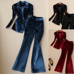 包邮春秋新款韩版修身金丝绒喇叭长裤时尚套装女职业西装两件套潮