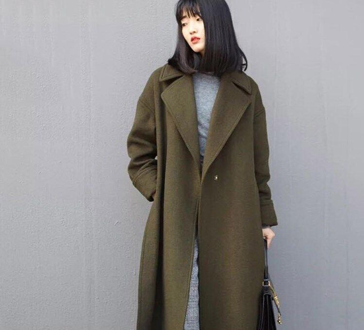 日本2016新款天然澳洲双面羊绒大衣女羊毛呢秋冬加厚外套中长款