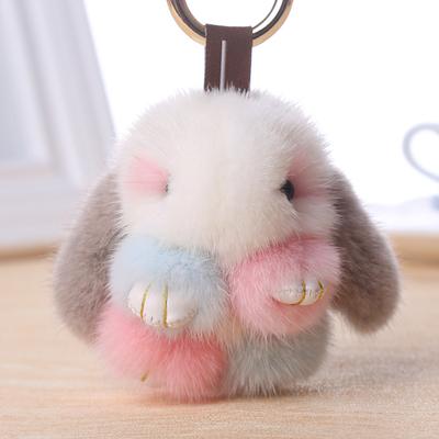 韩国长毛小兔子毛绒玩具垂耳兔公仔装死玩偶兔包挂件手机迷你挂饰