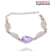 Package mail smiling Korea multicolor rhinestone Crystal alloy Bangle hand chain Korean jewelry women