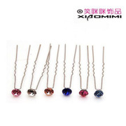 Smiling new Korean clubs u-shaped rhinestone hairpin hairpin hair accessories Korea insert hairpin flowers tiara jewelry
