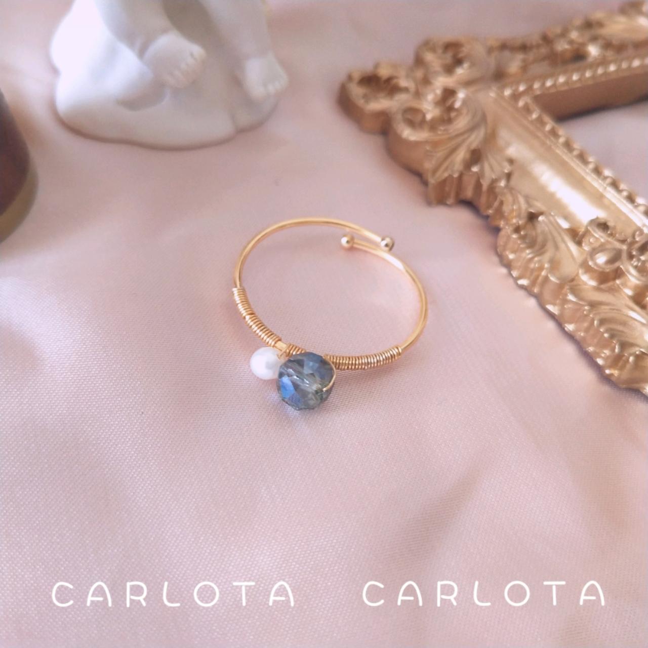 CARLOTA*法式原创仙气甜美金戒指开口可调节天然珍珠施家水晶指环