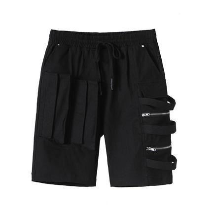 原创潮牌系口袋拉链拼接工装裤短裤