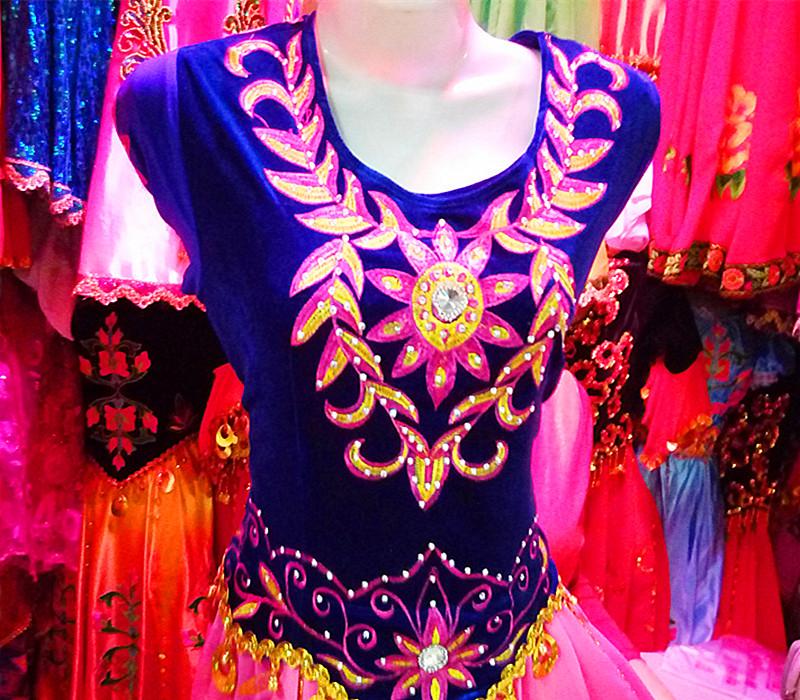 Новый дизайн синьцзян народ танец одежда размер Я ваш гонка танец производительность одежда женщина вышитый танец юбка