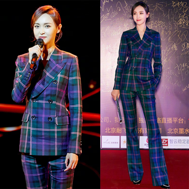 Business suit coat female Tang Yan same double breasted British style flared pants pants noble suit