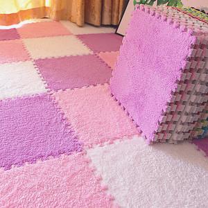 四季通用绒面地垫拼接卧室满铺床边公主房间地毯茶几榻榻米可机洗