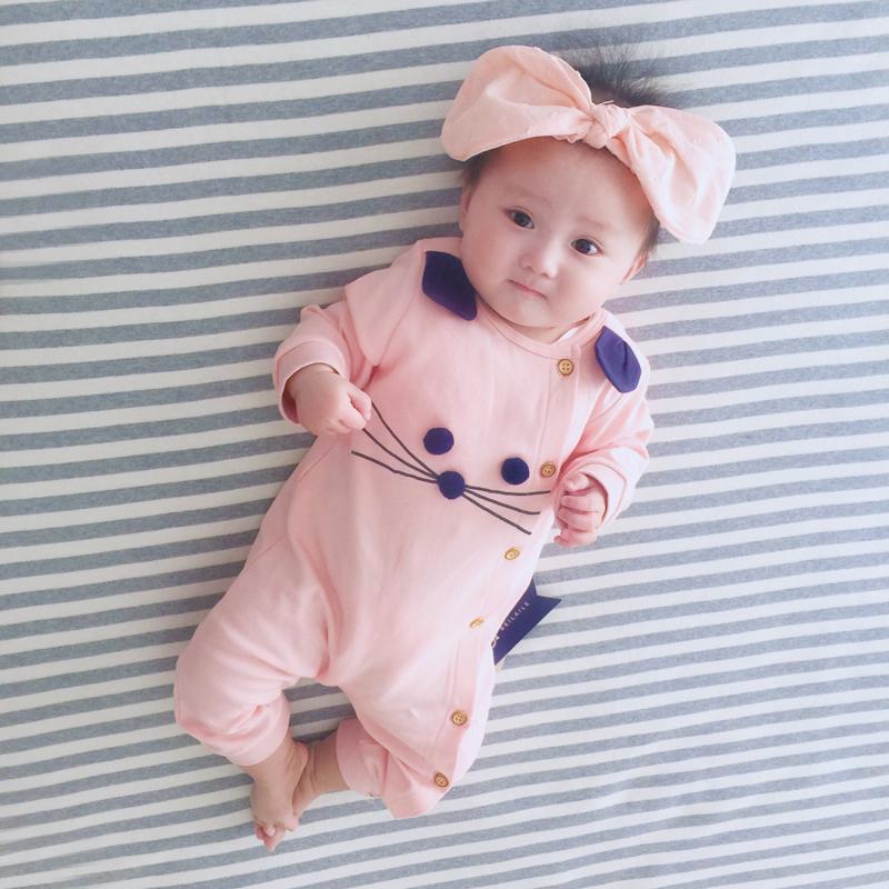 新生婴儿连体衣服0岁1女宝宝可爱超萌睡衣哈衣公主服满月秋冬套装