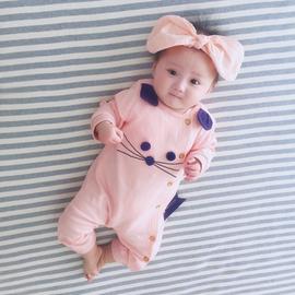 新生儿婴儿童连体衣服女宝宝外出夏装公主薄款春秋冬装外套装满月