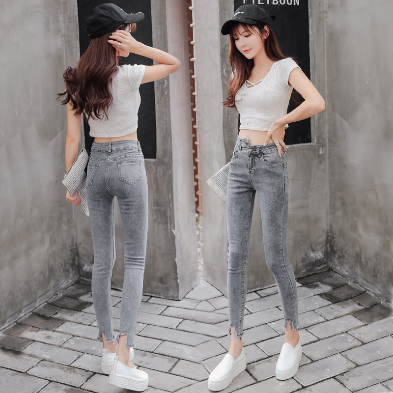Retro Hong Kong style high waist jeans womens slim autumn and winter wear new grey slim tight Capris in 2020