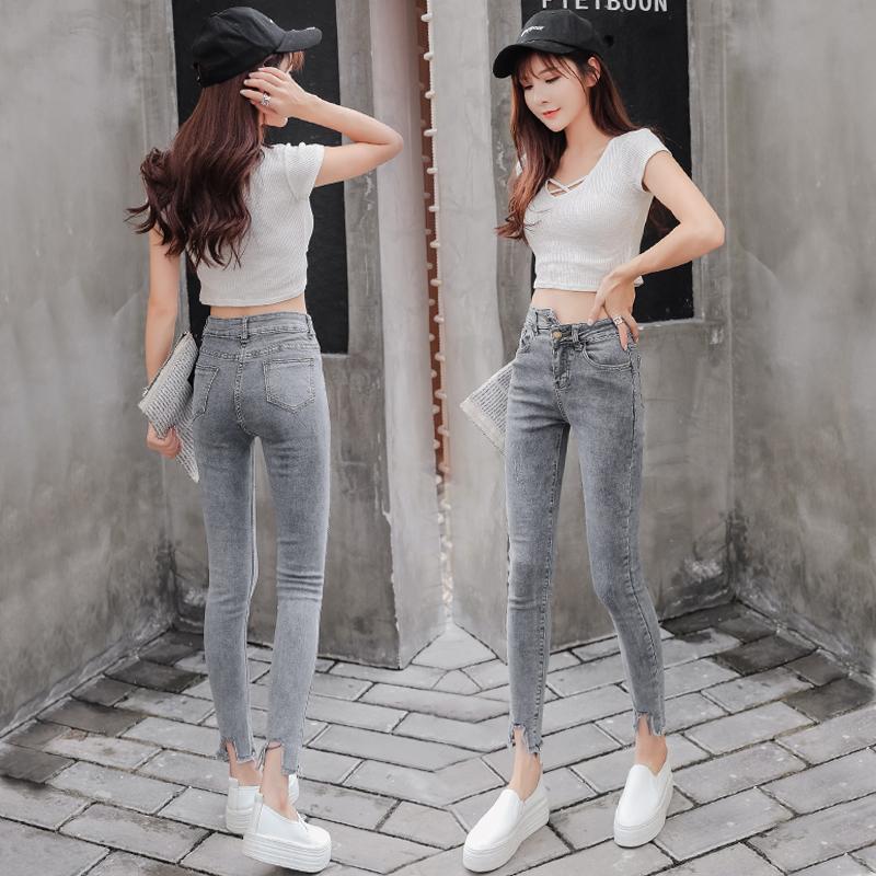Retro Hong Kong Style Pants Grey skinny jeans womens net red same style skinny little feet Korean nine point pants high waist