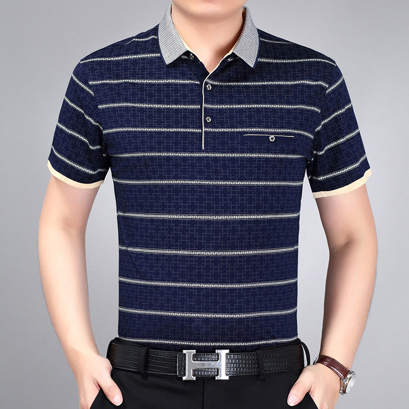 Summer middle aged short sleeve t-shirt mens striped Lapel dress thin middle aged and elderly summer casual T-shirt dads wear
