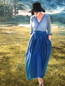 夏子小姐 改良汉服V领苎麻连衣裙撞色茶卡盐湖裙子藏蓝色复古袍子