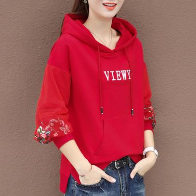 红色连帽卫衣女春秋薄款2020年新款女装秋冬韩版大码宽松上衣外套