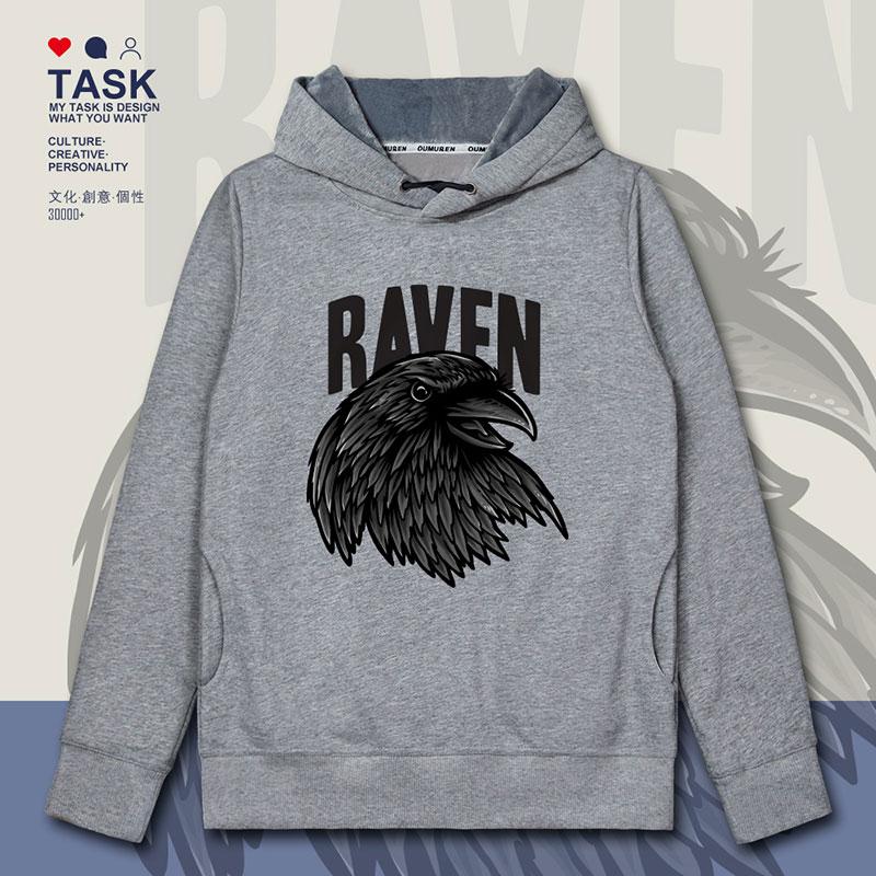 TASK掠夺者老鹰乌鸦头个性连帽卫衣男女动物图案欧美风加绒帽衫冬