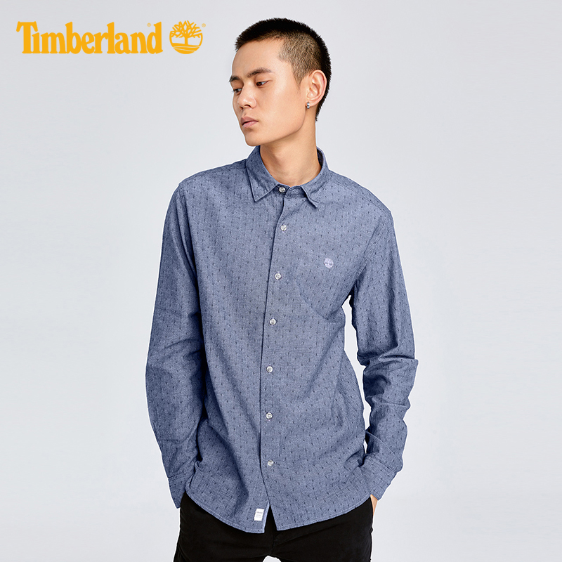 Timberland/添柏岚男装新款修身提花长袖衬衫|A1NMJ