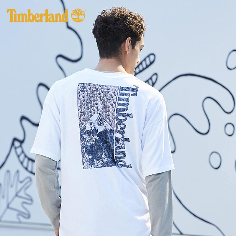 Timberland添柏岚男装19夏装新款圆领宽松印花图案短袖T恤|A1X15