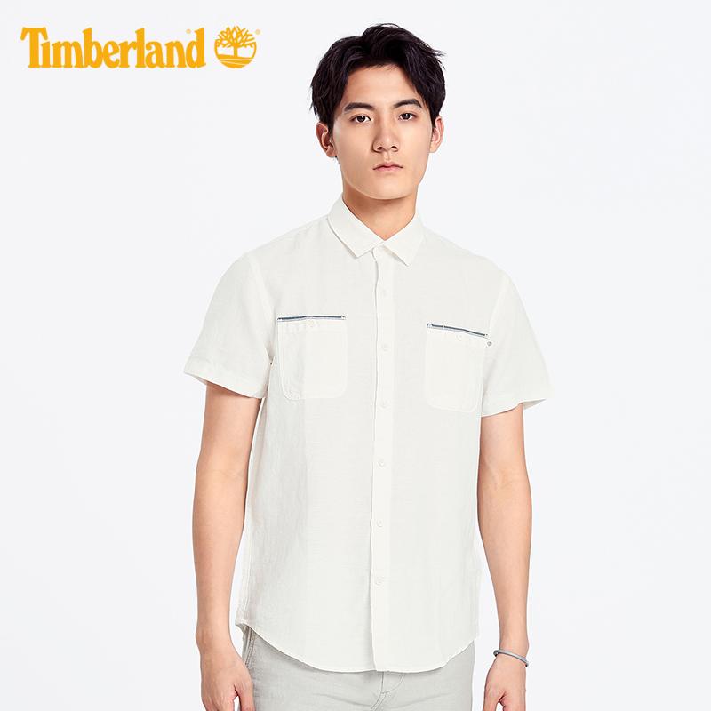 Timberland添柏岚男装19夏装棉麻混纺修身短袖衬衫|A1WRN