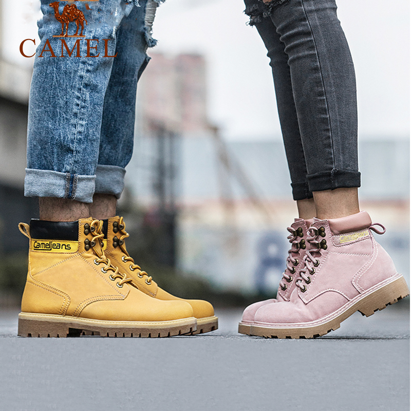 Camel hiking shoes High Top Pink Martin boots men and women lovers waterproof and anti-skid outdoor Plush rhubarb shoes snow boots