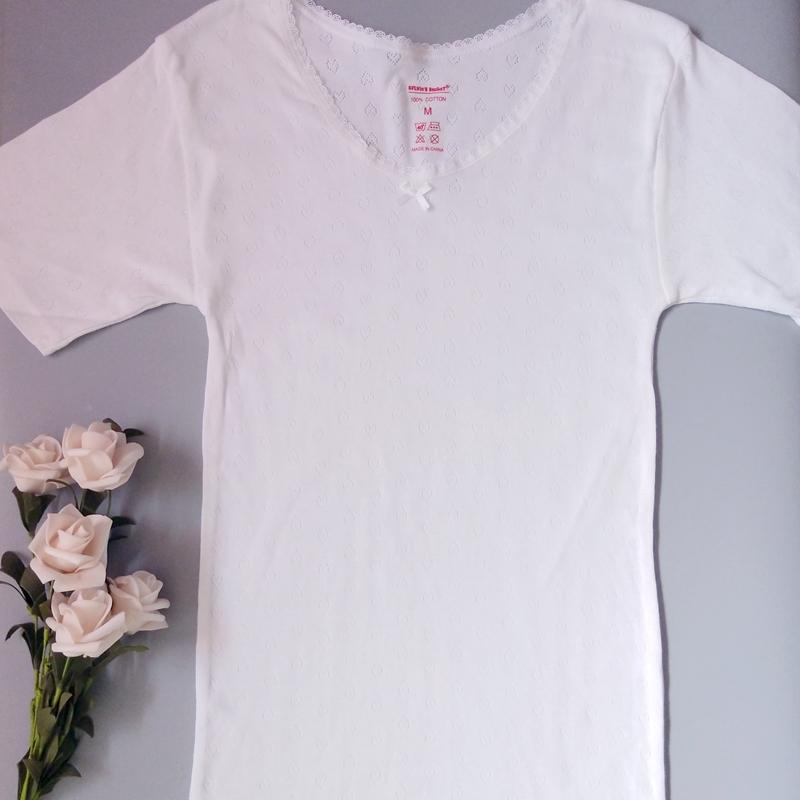 女士纯色打底衫圆领花边蝴蝶结镂空短袖棉质舒适透气可外穿家居服
